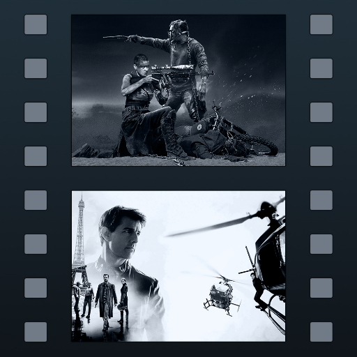 Movie Genre Icons - Filmstrip HD - BW