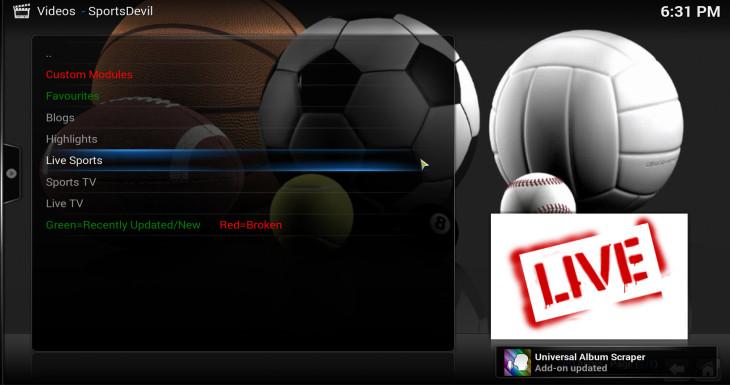 Live sportsdevil xbmc