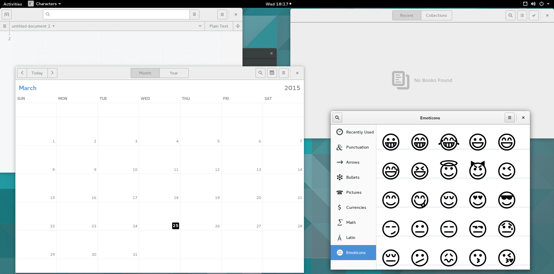 Gnome 3.16 Preview Apps: Calendar, Characters, Books and Builder
