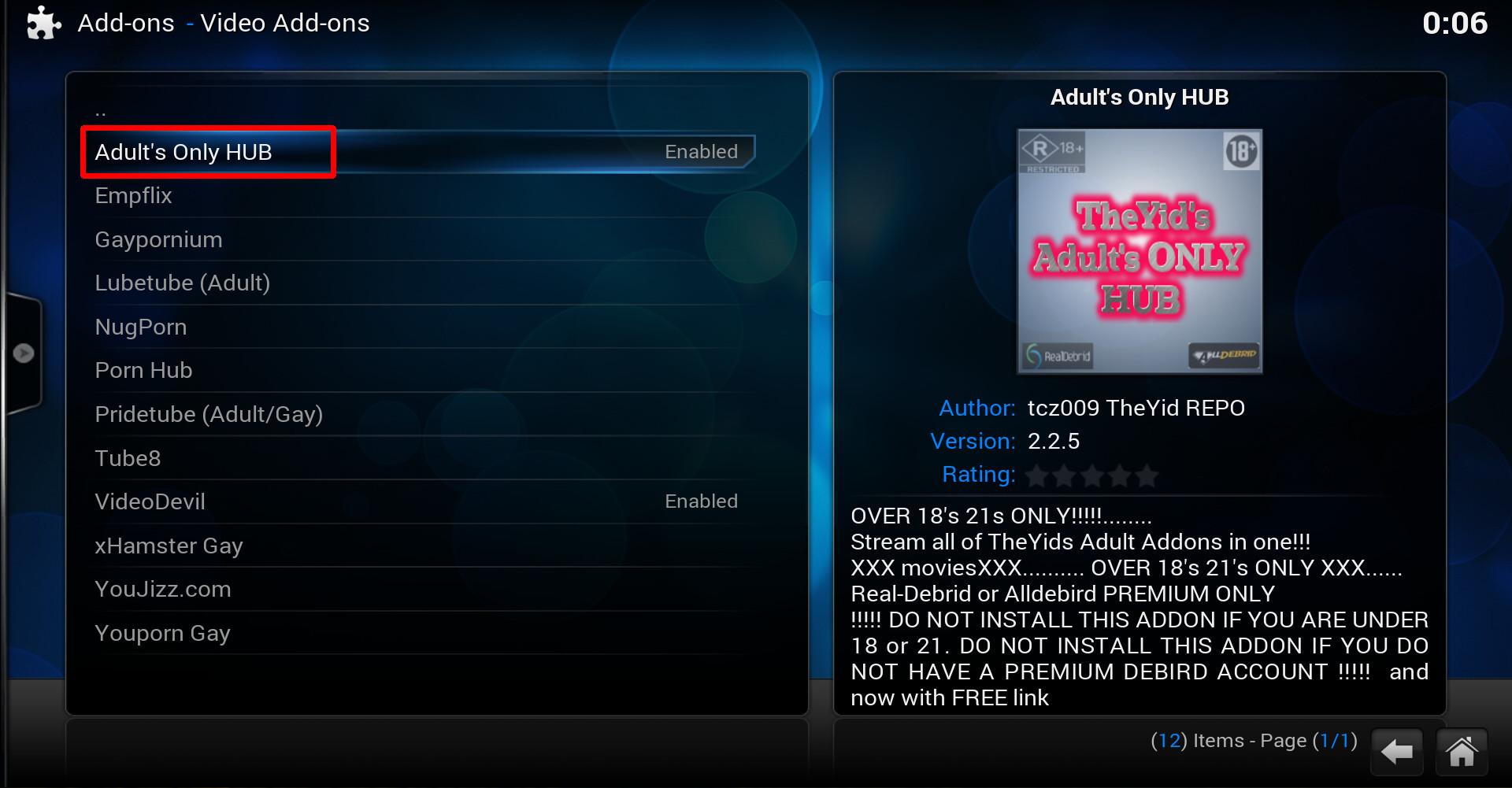 install adults only kodi