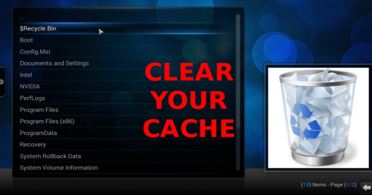 Kodi manually clear cache