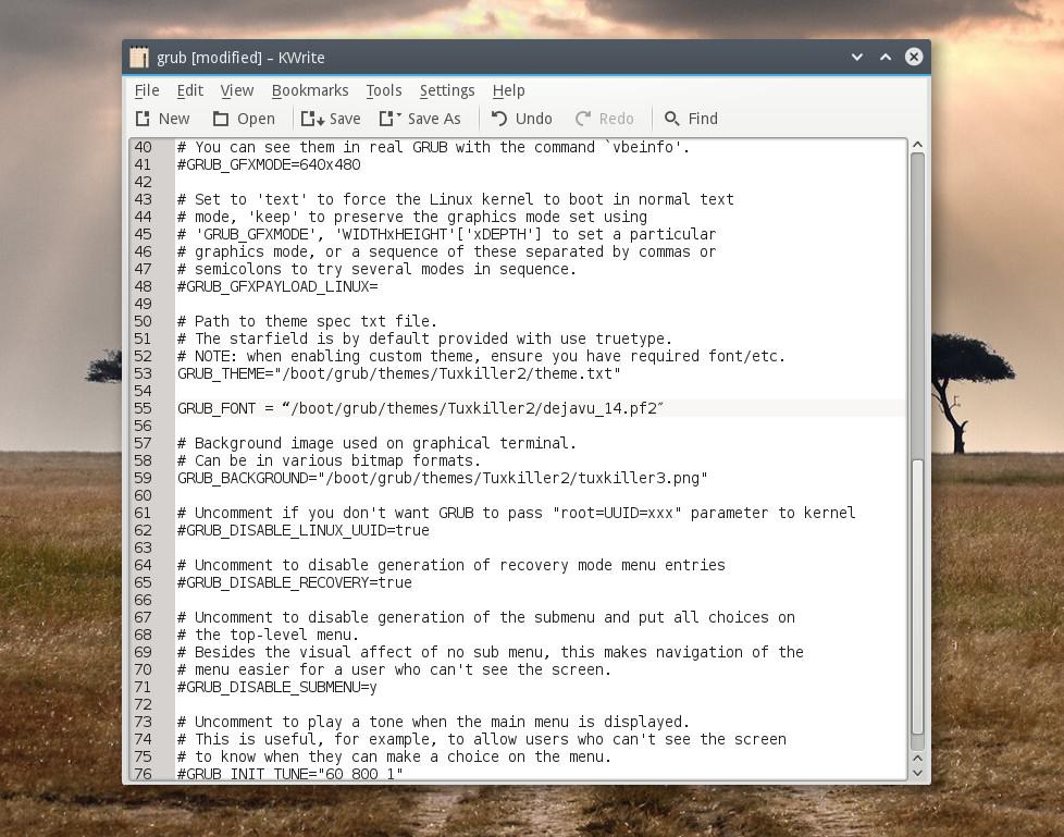 edit default_grub