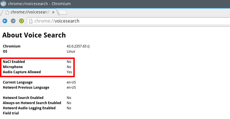 Chromium voiceSearch