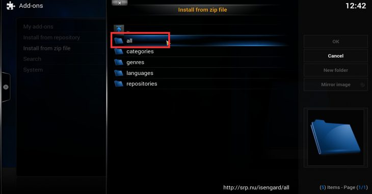 Kodi install from zip - select SuperRepo repository which contains all