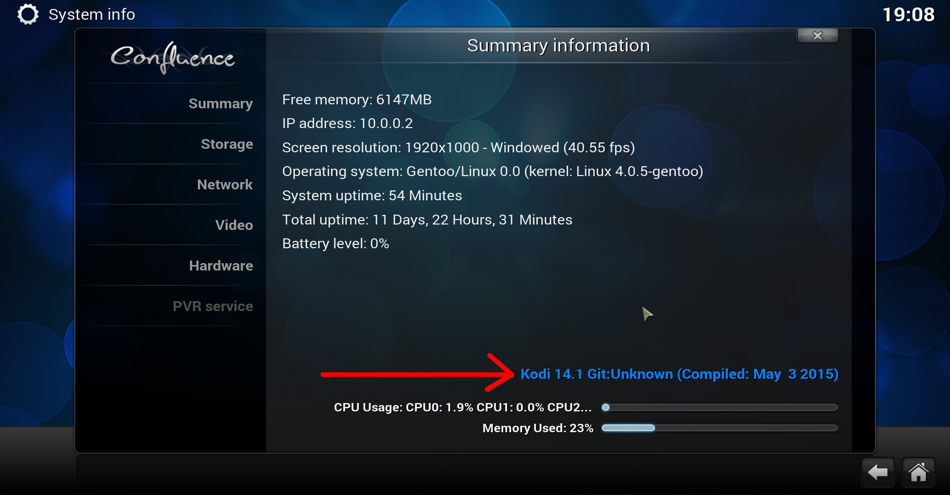 kodi version