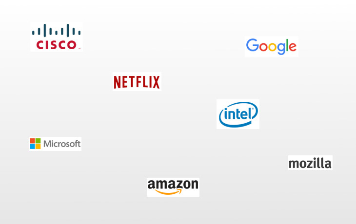 Microsoft, Google, Mozilla, Intel, Cisco, Amazon and Netfilx