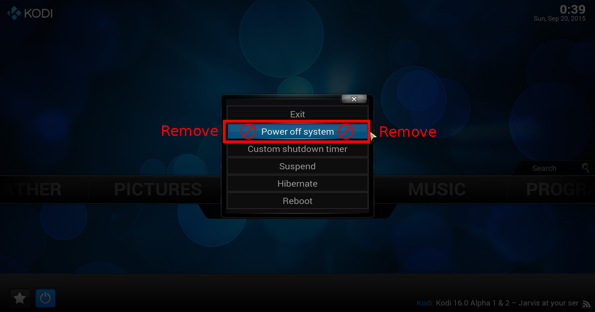 Remove kodi's Power off system entry