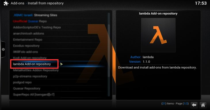 Install from repository: lambda add-on repository