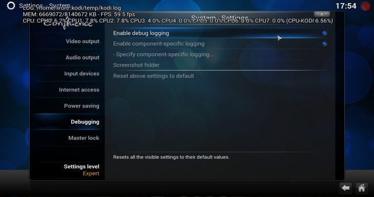 Kodi enable debug logging