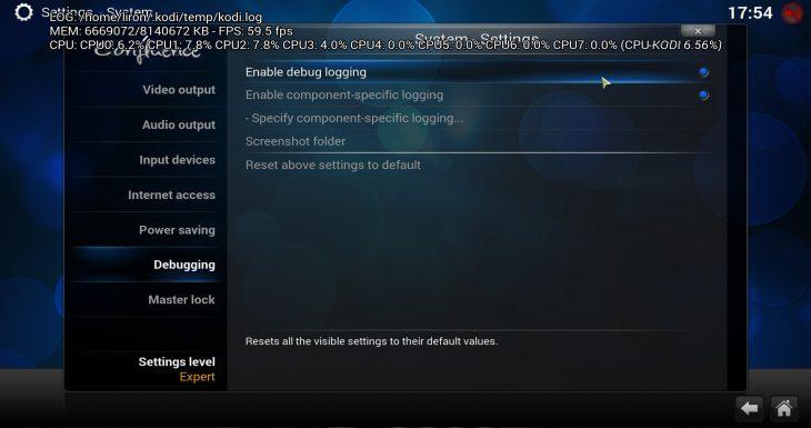 Kodi enable debug logging
