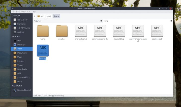 Kodi log in file browser