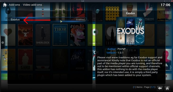 Exodus install video addon