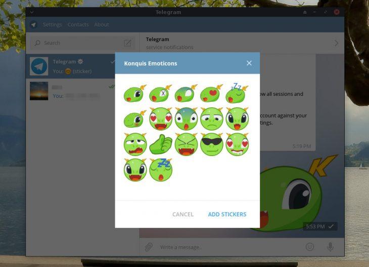 Konqi Telegram stickers