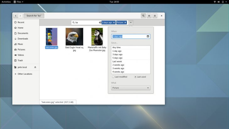 GNOME 3.20 Files revamped search