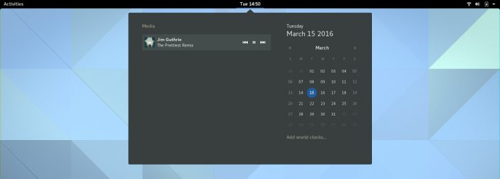GNOME 3.20 media controls inside notification area