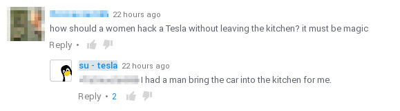 Tesla hacked by a woman?