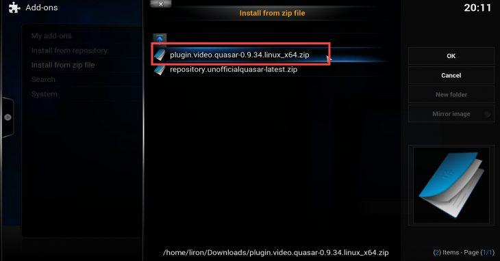 Install Quasar zip file