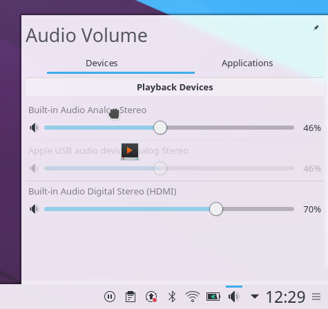 KDE Plasma 5.7 beta Volume Control