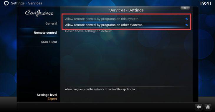 Kodi - enable remote control