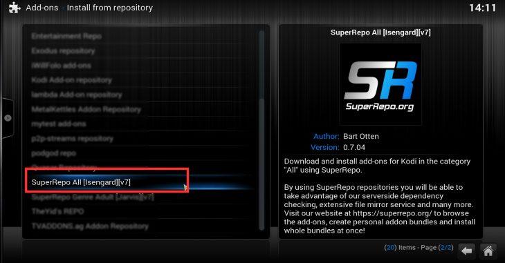 Kodi SuperRepo - install from repository