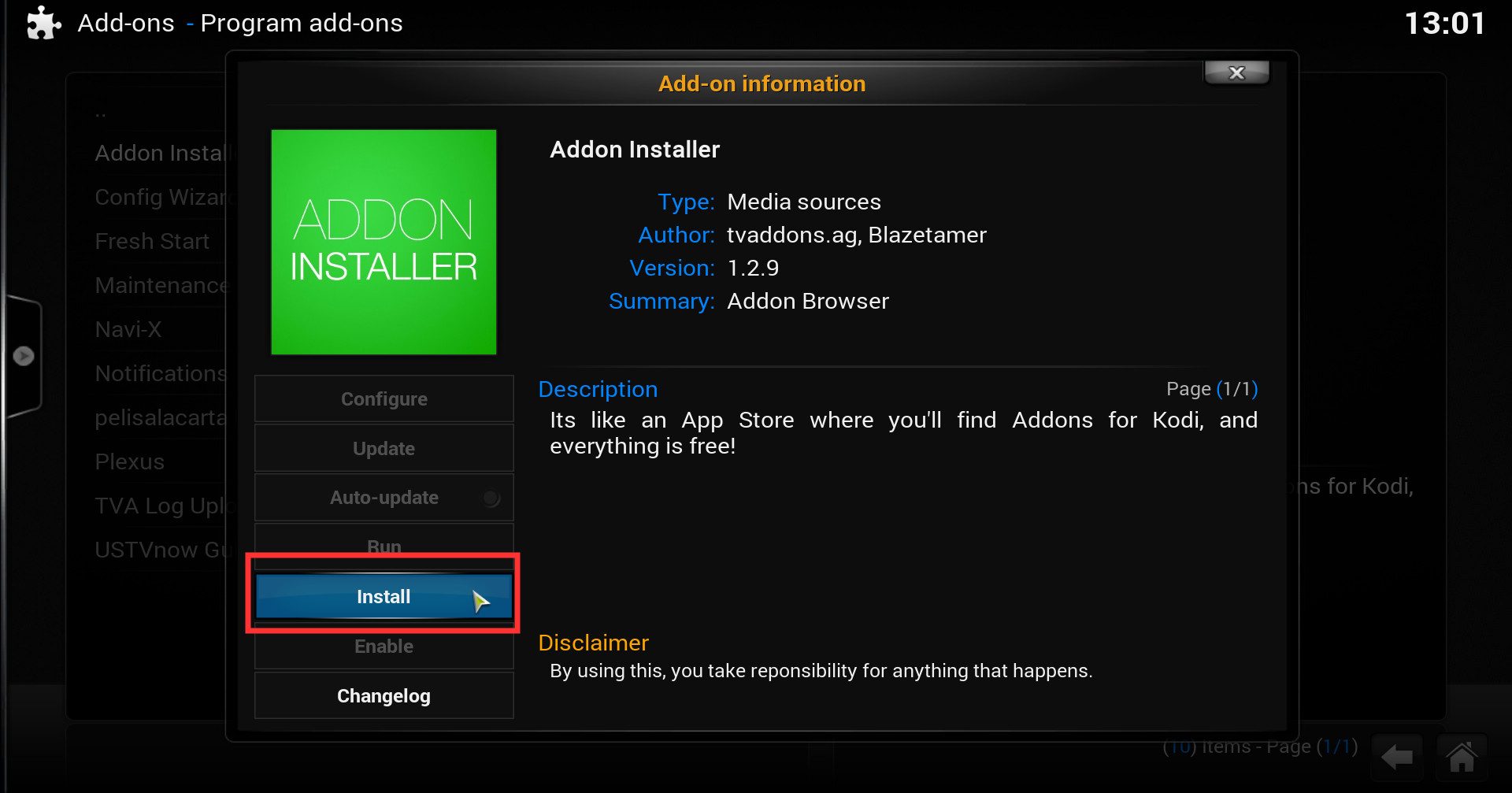 how to install 39 addon installer 39 by tvaddons a app store like kodi addon iwf1. Black Bedroom Furniture Sets. Home Design Ideas