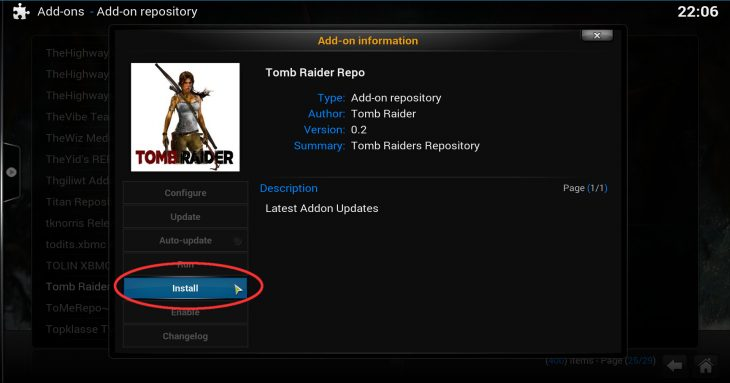 Click Install to install Tomb Raider Repo