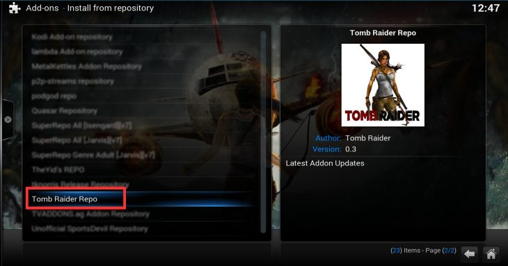 Install from repository: Tomb Raider Repo