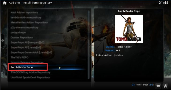 Tomb Raider Repo found under Install from repository