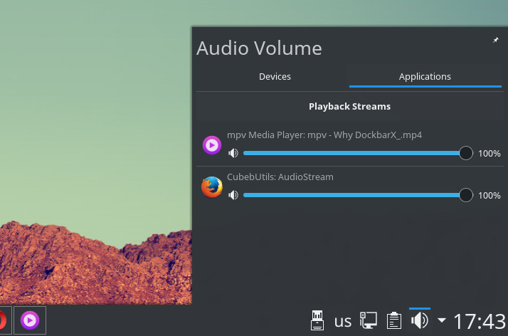Audio Volume applet applications tab.