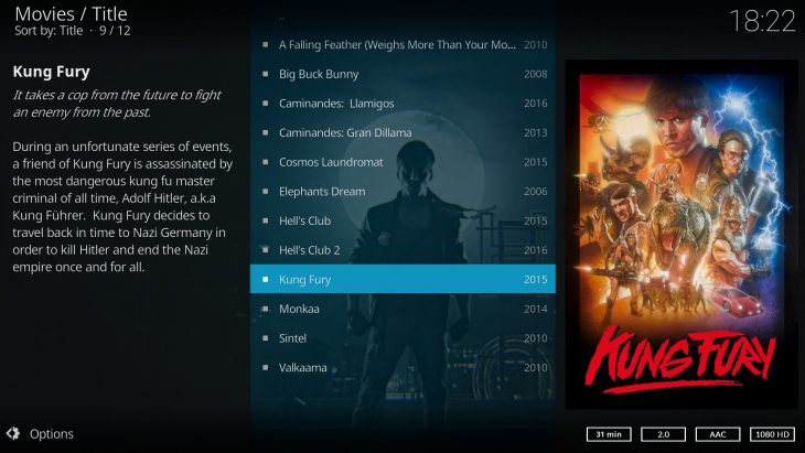 Kodi v17 Estuary: movie description (layout 1)