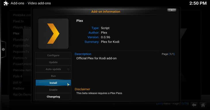 Click to install Plex
