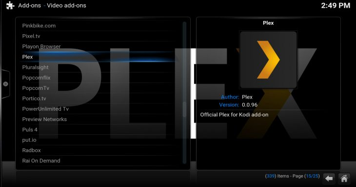 Plex inside Kodi's official repository