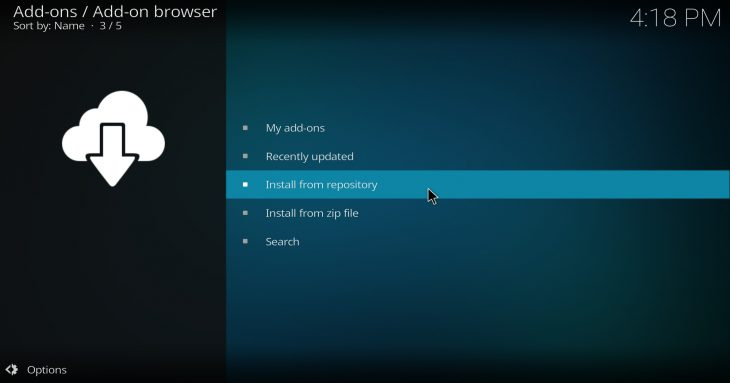 Kodi 17 Krypton: installing add-ons options