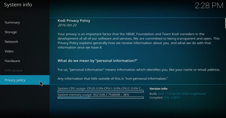 Kodi 17 Krypton: privacy policy