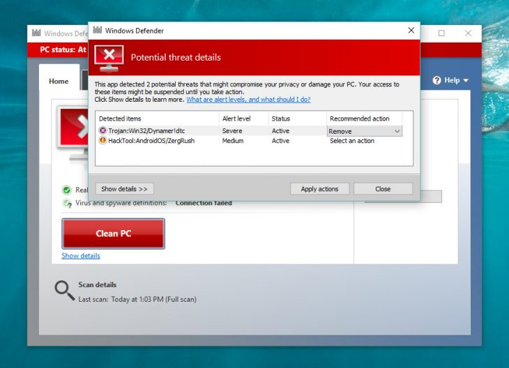Windows defender finds false viruses