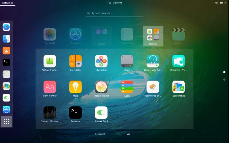 iOS iCons app-folder overview on GNOME desktop environment