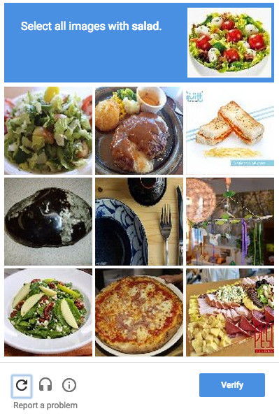 "A ""CAPTCHA"" that requires the user to select salad images"