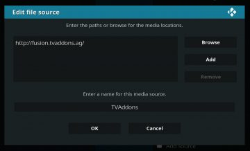 Add TVADDONS repository as source to Kodi
