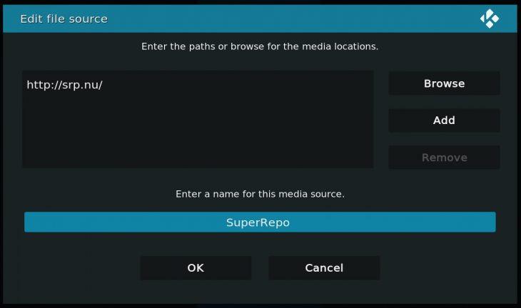 "Adding SuperRepo as a ""source"" in Kodi"