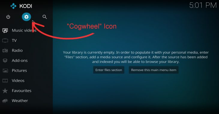 "Click the ""cogwheel"" icon to go into Kodi's settings"