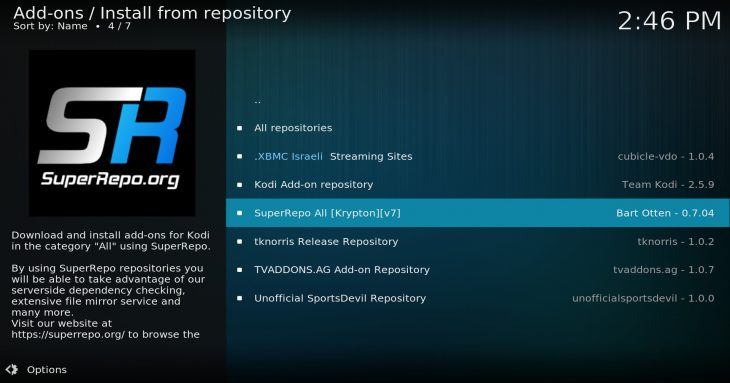 "SuperRepo as it appears under ""Install from repository"""