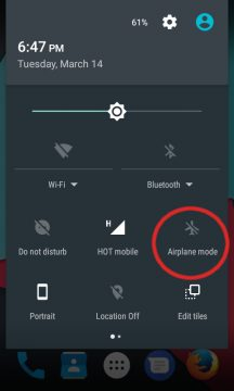 Switch Android's Airplane mode on or off