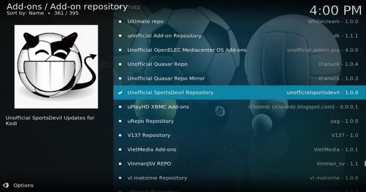"""Unofficial SportsDevil Repository"" inside SuperRepo repository"