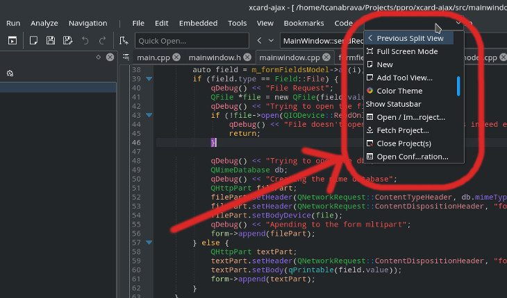 KActionRunner widget in KDevelop