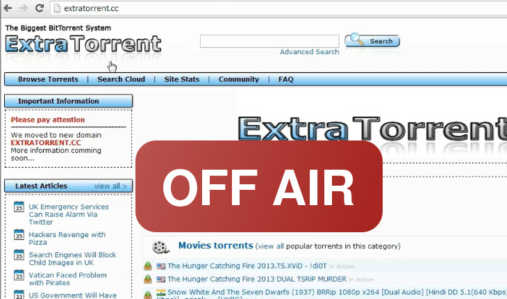 ExtraTorrent shuts down
