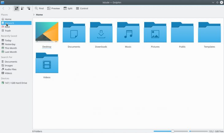 KDE's Dolphin file manager (17.04 Applications suite)