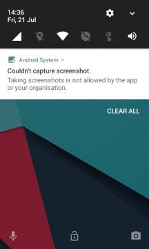 Firefox Focus prevents Android from taking screenshots due to privacy reasons