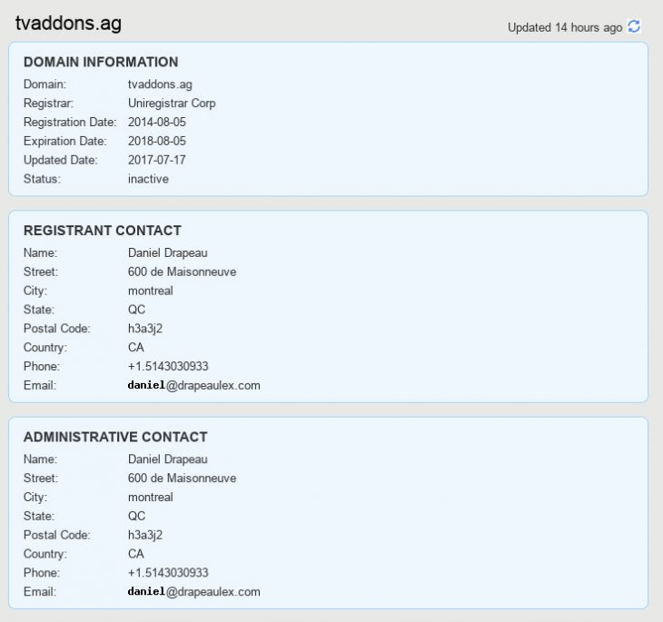 TVAddons.ag is now registered under Daniel Drapeau