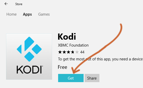 "Click the ""Get"" button to install Kodi on Windows"