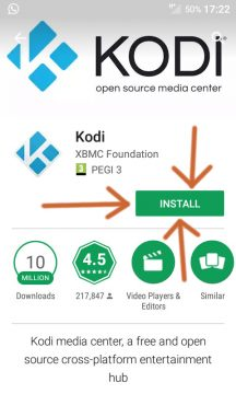 "Click the ""INSTALL"" button to install Kodi on Android"